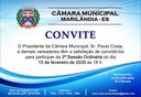 Convite à 2ª Sessão Ordinária de 2020