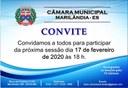 Convite à 3ª Sessão Ordinária 2020