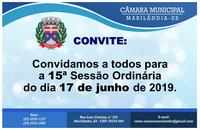 Convite para a 15ª Sessão Ordinária