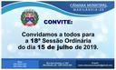 Convite para a 18ª Sessão Ordinária
